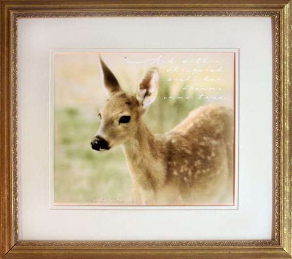 FRAMED FAWN SPARKLY MATTED PRINT