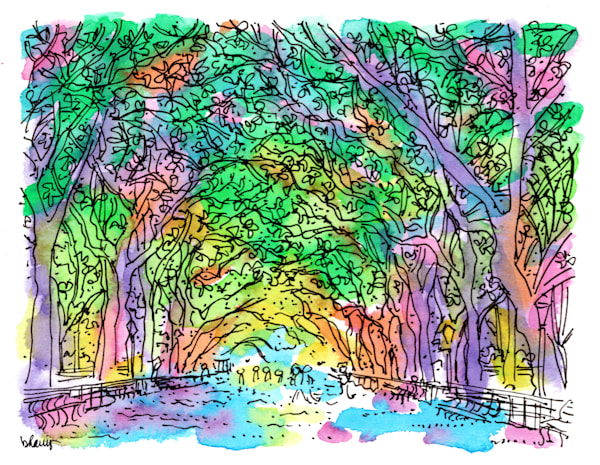 the mall, central park, new york city:  fine art prints in cheerful watercolor available for purchase online