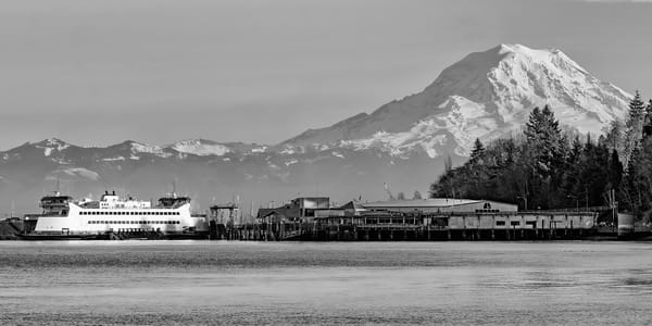 Ferry to Rainier bw