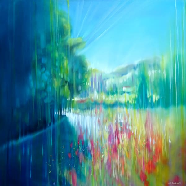 semi abstract landscape painting inspired by river walking in English countryside