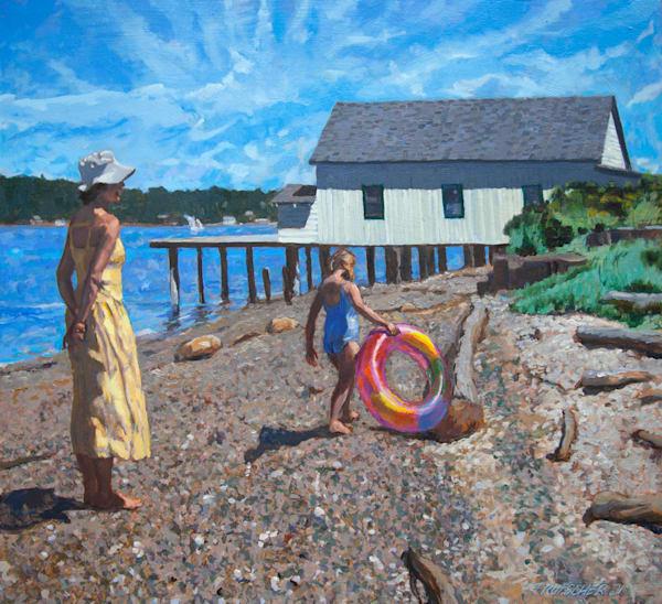 On Dockton Beach With Floatie Ring Art   Fountainhead Gallery