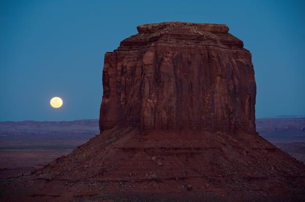 Amazing landscape fine art print of desert moonrise.