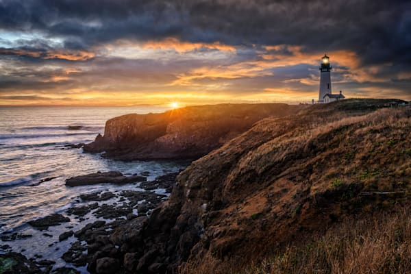 Sunset at Yaquina Head Lighthouse | Shop Photography by Rick Berk
