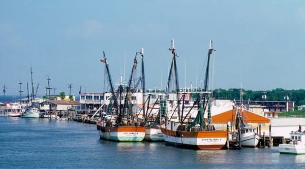 1980 historic photo of the Kemah, Texas waterfront