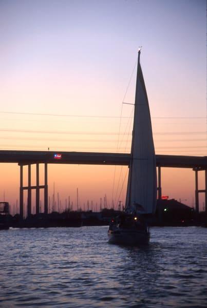 1992 Kemah-Seabrook bridge with lighted neon Texas flag