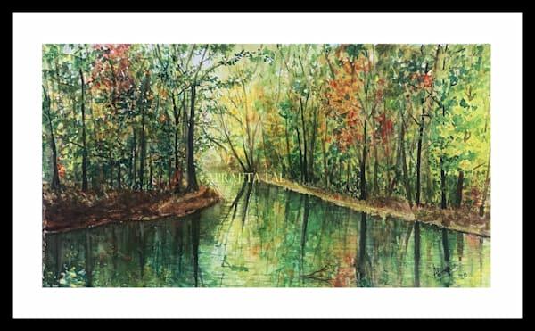 """Autumn Reflections"" in Watercolors by Aprajita Lal (Original 12X22)"