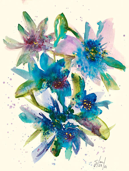 """""""Blue Flowers No. 1"""" by Stacey Melotte."""