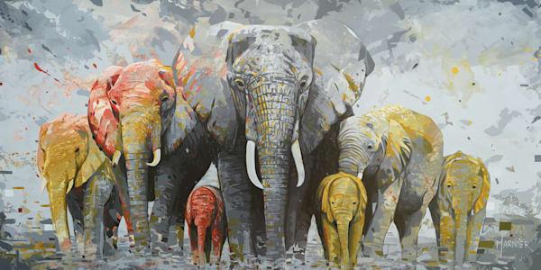 Elephants, animal, art, original painting, Marnier art, artist