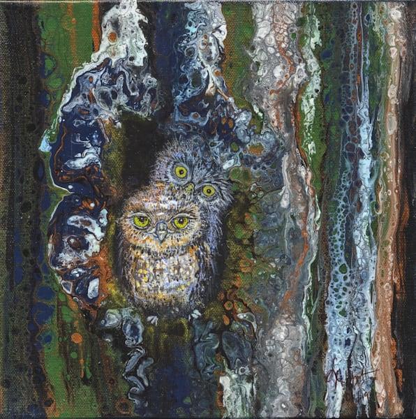Owlets In Tree 500 Art   lisaabbott.art