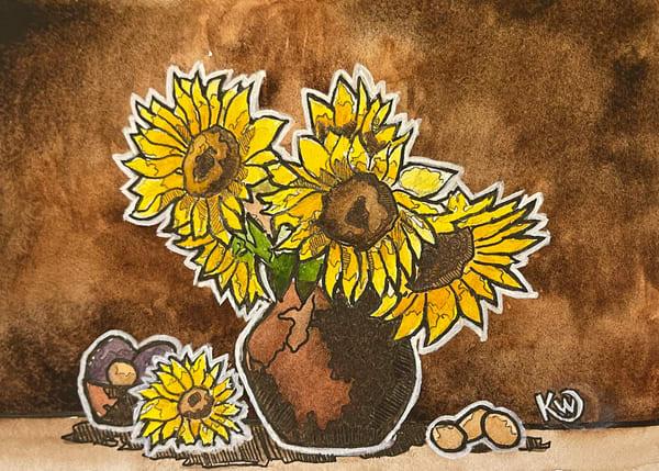 Sunflower Still Life Art | Water+Ink Studios