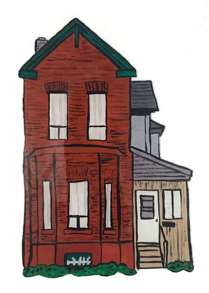 Rowhouse: A Postcard Print by Jennifer Akkermans