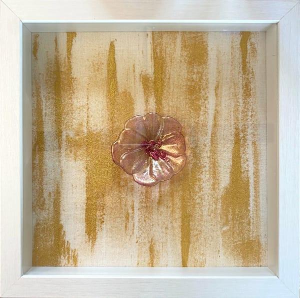 PINK SHIMMER FLOWER WHITE FRAME