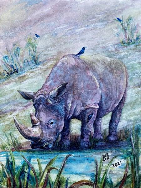 Rhino & Hitchhikers (Feeling Blue) Art   Blissful Bonita Art Studio & Gallery