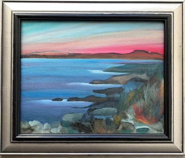 Coastal Sunset Original Oil over Monotype on Canvas Board Landscape/Seascape Painting