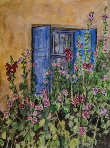 Blue Shutters  by Muffy Clark Gill is one of my favorite memories of Summer. It features a tranquil scene with hollyhocks outside a beautiful adobe home in Ranchos de Taos, New Mexico.
