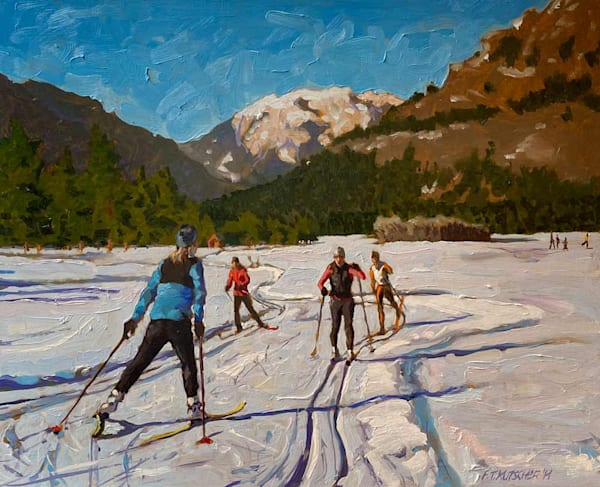 Skiers On Methow Valley Trails Art   Fountainhead Gallery