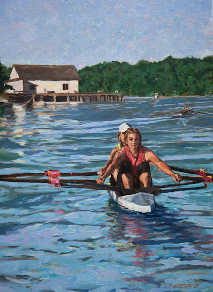 Scullers In Double Off Dockton Art   Fountainhead Gallery