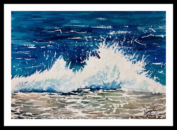 """Crashing Waves - 2"" in Watercolors by Aprajita Lal"