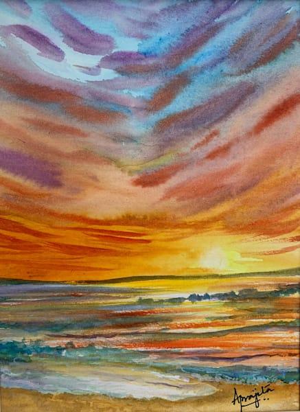 """""""Rainbow Skies"""" in watercolor by Aprajita Lal"""