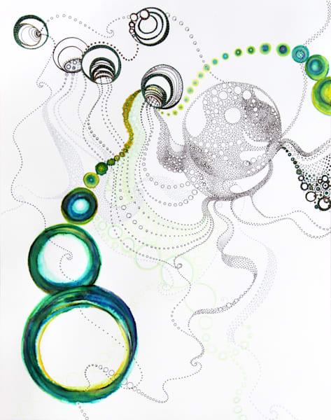 Circles With Green Art   Artist Rachel Goldsmith, LLC