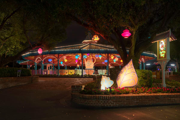 Mad Tea Party At Night Photography Art | William Drew Photography