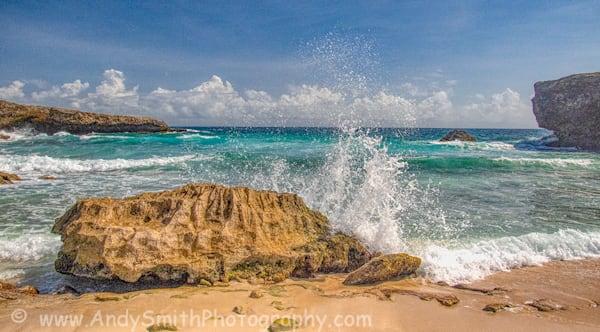 Surf Breaking Over Rock at Boca Prins