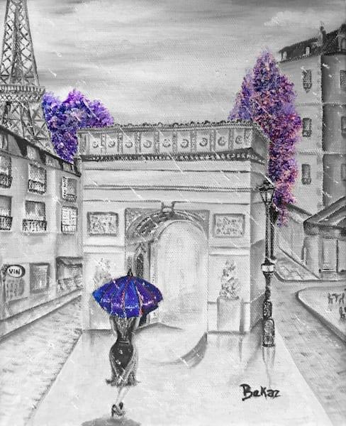 Paris In Purple Painting Artwork Canvas Print