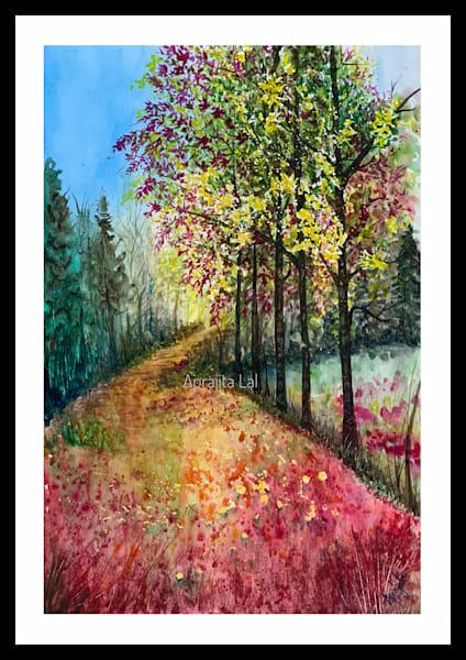 """A Passage Through Autumn"" in watercolors by Aprajita Lal"
