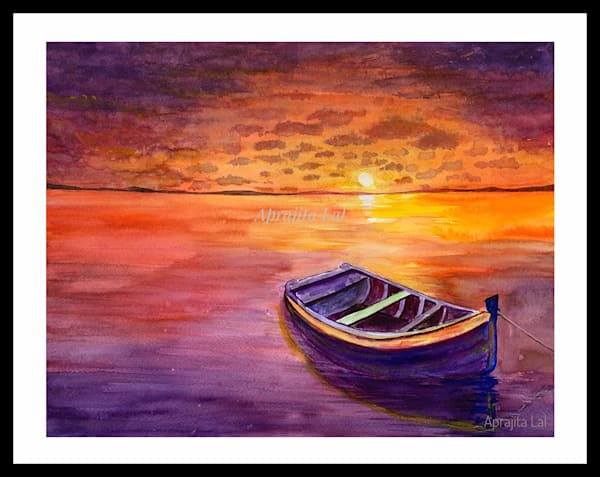 """""""Glorious Sunset"""" in Watercolor by Aprajita Lal (Original size 11X14 inches)"""