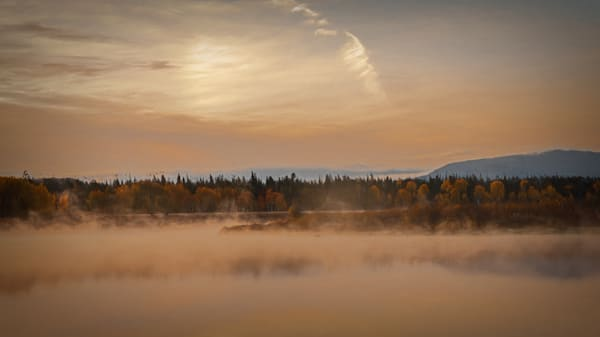 Autumn Morning Mist Rising on the Snake River at Oxbow Bend