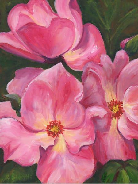 "Limited Edition ""Pink Flowers"" Art | Linda Sacketti"
