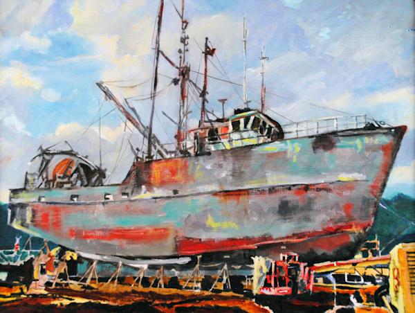 Portland, Maine, shipyard, painting, boat, ship, fishing boat, nautical,
