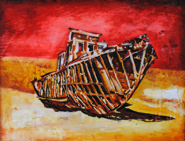 Aral Sea, shipwreck, desert, red sky, sand, beach, skeleton,