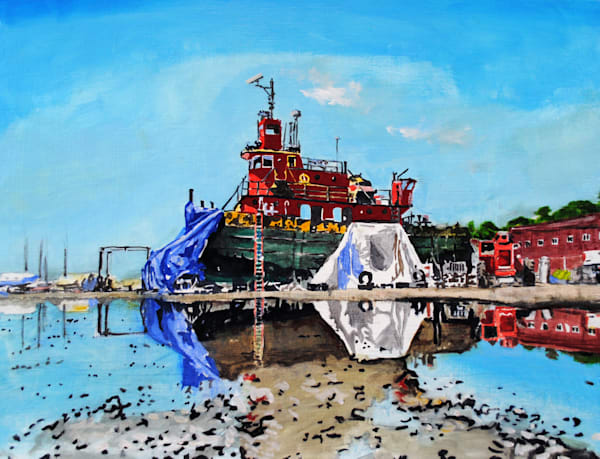 Shipyard, Portland, Maine, red boat, reflection, painting, nautical, fishing boat, lobsterman, Atlantic Ocean, August