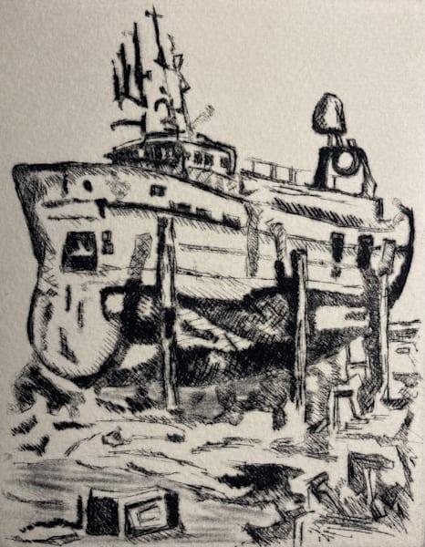 Iceland, drypoint, etching, Reykjavik, art, print, printmaking, intaglio, ship, docks