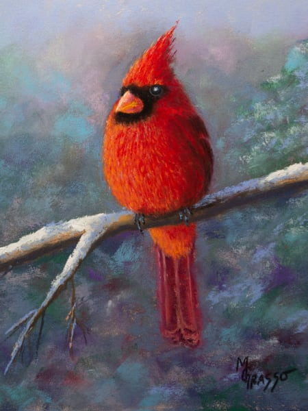 Male Winter Cardinal Art | Mark Grasso Fine Art