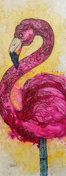 Hot Opera Pink Flamingo Vertical Original Fine Art Painting