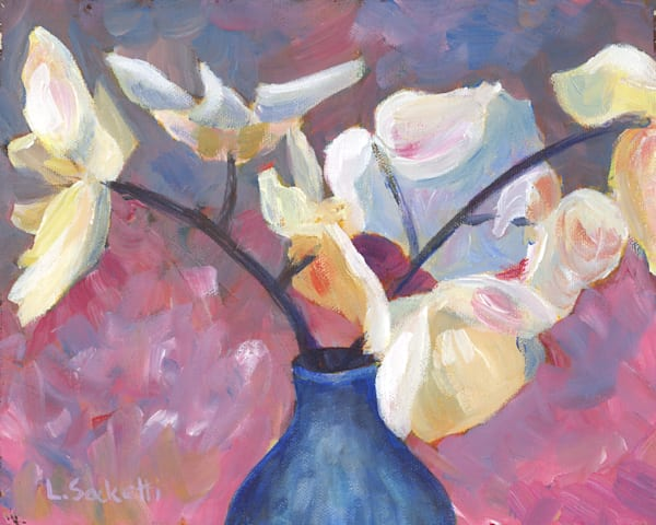 """Limited Edition """"White Flowers In A Blue Vase"""" Art 
