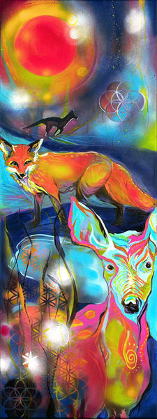 Red Moon, Fox And Deer Art | Emily Tanaka - Have to Create