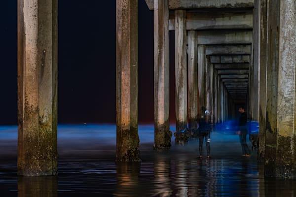 Surfers at Ellen Brown Memorial Pier and Bioluminescence Fine Art Print