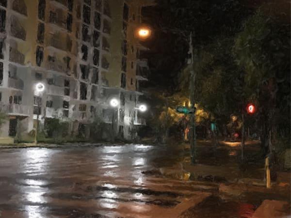 St Petersburg.Rainy Street.Intersection Art   Glenn McDaniel Arts, LLC