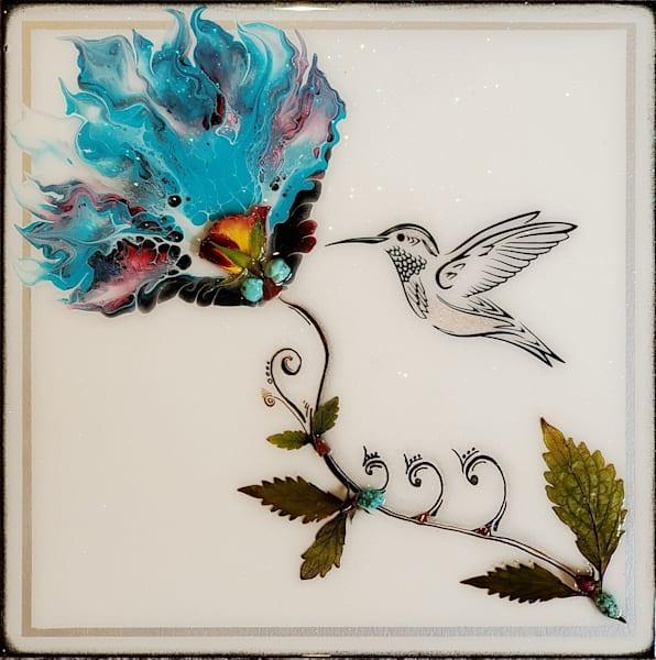 Hummingbird (Real Flowers) Art   Breathe Art Paintings