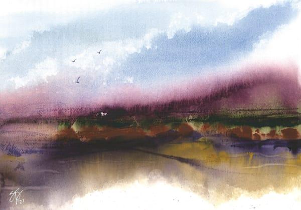 Abstract Landscape Series - Indigo Violet Undersea Green Yellow Ochre 1 of 3