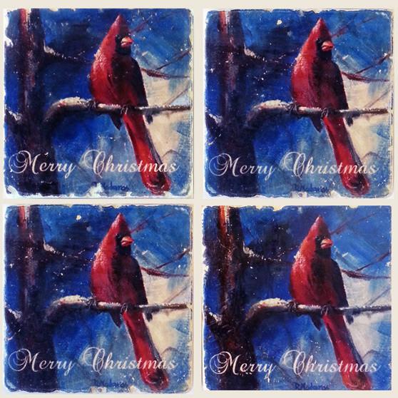 Cardinal in Winter Merry Christmas Coasters | Madaras