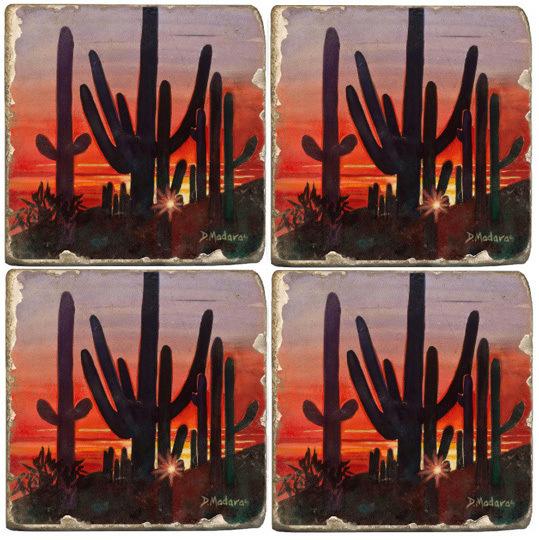A Fiery Southwest Sunset Coaster Set