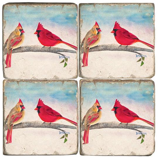 Mr. and Mrs. Cardinal Coaster Set of 4