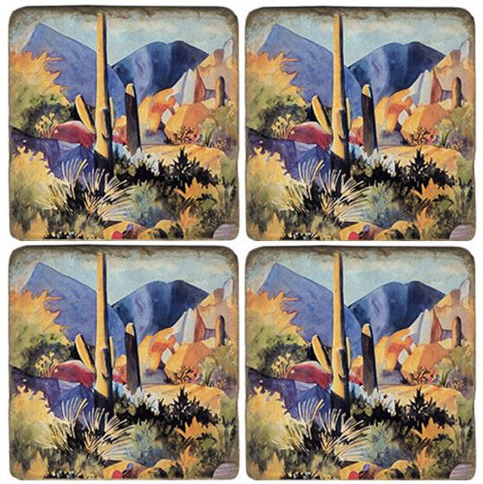 Boulders II Tumbled Marble Coaster Set of 4