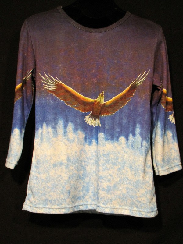 """""""Soaring"""" Ladies Shirt by Kevin Moffatt (front view)"""