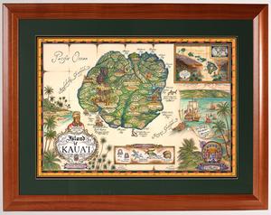 image about Printable Map of Kauai identified as Framed Prints Map of Kauai