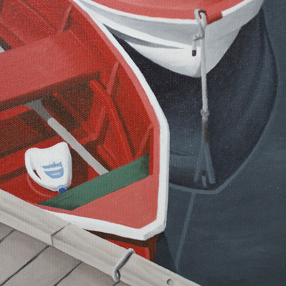 Rockport Massachusetts Dinghies Reflections Ropes Art Prints & Paintings